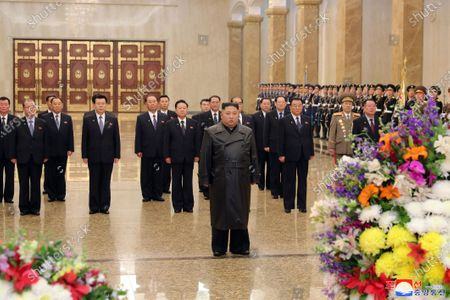 A photo released by the official North Korean Central News Agency (KCNA) shows Kim Jong Un (C, front), chairman of the Workers' Party of Korea, and supreme commander of the armed forces of the DPRK, visiting the Kumsusan Palace of the Sun on the Day of the Shining Star, the birth anniversary of Chairman Kim Jong Il, in Pyongyang, North Korea, (issued 16 February 2020).
