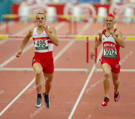 Xv11 Commonwealth Games Manchester. England's Chris Rawlinson (left ) And Matthew Elias With Gold And Silver In The The 400m Hurdles At The 2002 Commomwealth Games At The City Of Manchester Stadium Manchester Monday 29 2002.