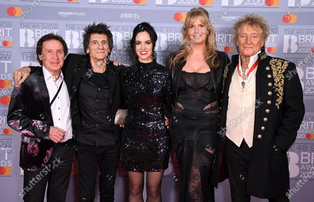 Stock Picture of Kenney Jones, Ronnie Wood, Sally Wood, Penny Lancaster and Sir Rod Stewart