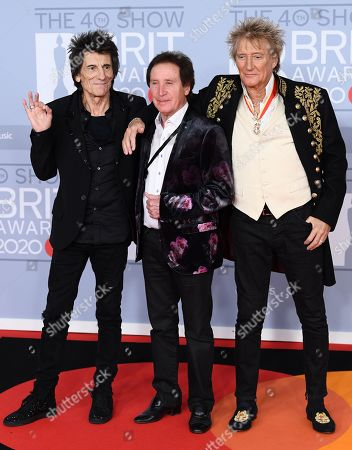 Stock Image of Ronnie Wood, Rod Stewart and Kenney Jones