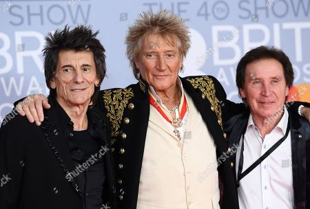 Stock Photo of Ronnie Wood, Rod Stewart and Kenney Jones