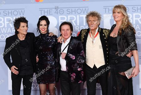 Ronnie Wood, Sally Wood, Kenney Jones, Rod Stewart and Penny Lancaster