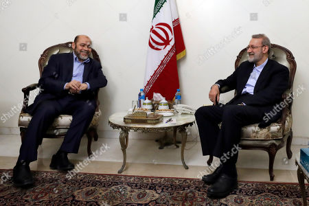 Ali Larijani, Mousa Abu Marzook. Iranian Parliament Speaker Ali Larijani, right, meets with Mousa Abu Marzook, a senior Palestinian member of Hamas, an Islamic political party, which has an armed wing of the same name, at the Iranian Embassy in Beirut, Lebanon