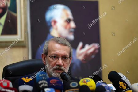 Iranian Parliament Speaker Ali Larijani speaks during a press conference at the Iranian Embassy in Beirut, Lebanon