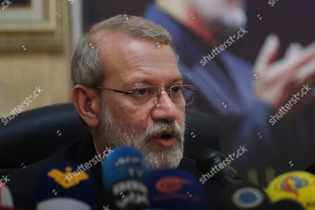 Iran's Parliament Speaker Ali Larijani, gives a press conference at the Iranian Embassy in Beirut, Lebanon