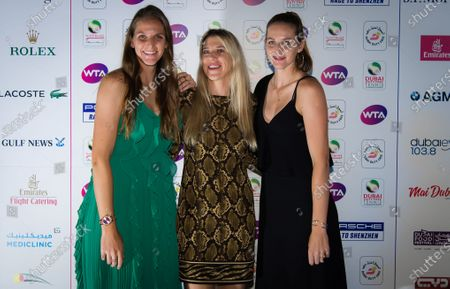 Karolina Pliskova & Kristyna Pliskova of the Czech Republic and Olga Savchuk at the players party of the 2020 Dubai Duty Free Tennis Championships WTA Premier tennis tournament.