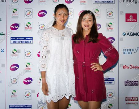 Stock Photo of Chan Hao-ching & Latisha Chan of Chinese Taipeh at the players party of the 2020 Dubai Duty Free Tennis Championships WTA Premier tennis tournament.
