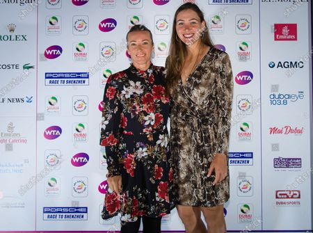 Nicole Melichar of the United States & Kveta Peschke of the Czech Republic at the players party of the 2020 Dubai Duty Free Tennis Championships WTA Premier tennis tournament.