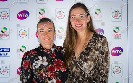 Stock Image of Nicole Melichar of the United States & Kveta Peschke of the Czech Republic at the players party of the 2020 Dubai Duty Free Tennis Championships WTA Premier tennis tournament.
