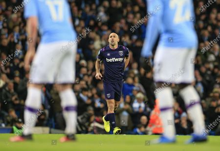 19th February 2020, Etihad Stadium, Manchester, England; Premier League, Manchester City v West Ham United : Pablo Zabaleta (5) of West Ham United comes on as a second half substitute