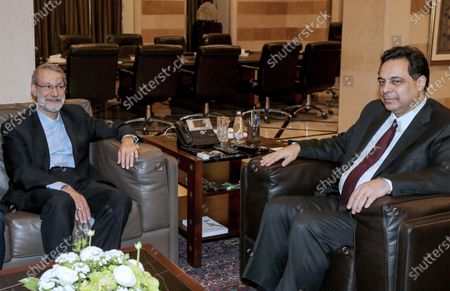 Lebanese Prime Minister Hassan Diab (R) meets with Iranian Parliament Speaker Ali Larijani (L) at the government palace in Beirut, Lebanon, 17 February 2020. Larijani arrived in Lebanon after a visit in Syria.