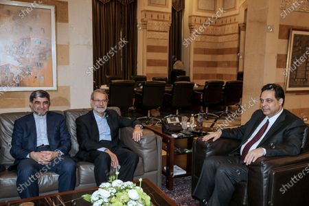 Lebanese Prime Minister Hassan Diab (R) meets with Iranian Parliament Speaker Ali Larijani (C) at the government palace in Beirut, Lebanon, 17 February 2020. Larijani arrived in Lebanon after a visit in Syria.