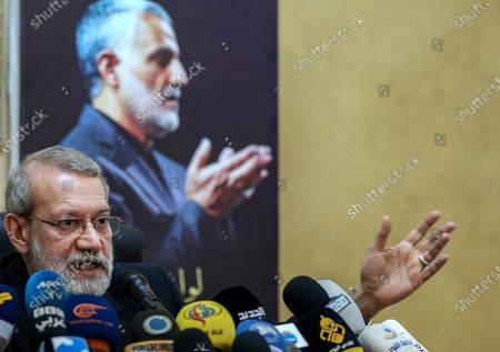 Iranian Parliament Speaker Ali Larijani speaks to media during a press conference at the Iranian embassy in southern suburb of Beirut, Lebanon, 17 February 2020. Larijani arrived in Lebanon after a visit in Syria.