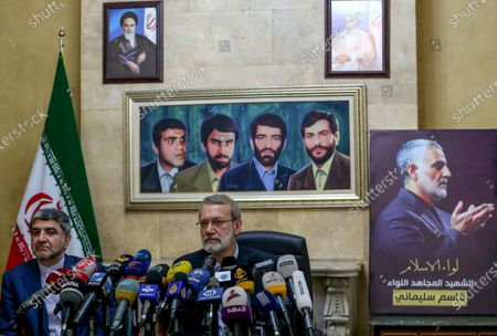 Stock Photo of Iranian Parliament Speaker Ali Larijani (R) speaks to media during a press conference at the Iranian embassy in southern suburb of Beirut, Lebanon, 17 February 2020. Larijani arrived in Lebanon after a visit in Syria.