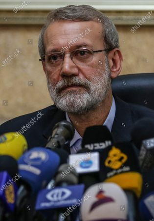 Stock Image of Iranian Parliament Speaker Ali Larijani speaks to media during a press conference at the Iranian embassy in southern suburb of Beirut, Lebanon, 17 February 2020. Larijani arrived in Lebanon after a visit in Syria.
