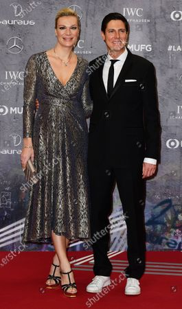 Retired German alpine skiier Maria Hoefl-Riesch and her husband Marcus Hoefl arrive for the Laureus World Sports Awards ceremony at the Verti Music Hall in Berlin, Germany, 17 February 2020.