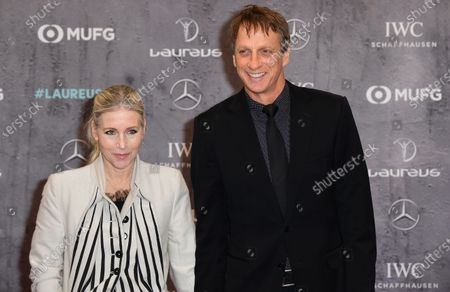 US skateboard legend Tony Hawk and wife wife Catherine Goodman arrives for the Laureus World Sports Awards ceremony at the Verti Music Hall in Berlin, Germany, 17 February 2020.