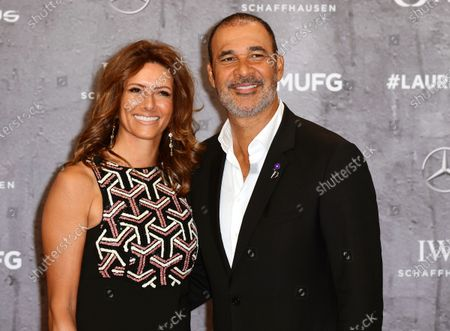 Former Dutch international and AC Milan forward Ruud Gullit and partner Karin de Rooij arrive for the Laureus World Sports Awards ceremony at the Verti Music Hall in Berlin, Germany, 17 February 2020.