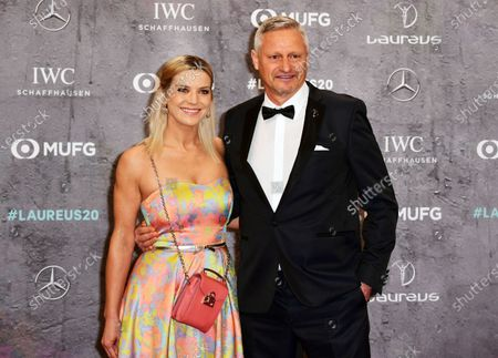 Laureus Ambassador Stefan Bloecher of Germany and wife Tina Bloecher arrive for the Laureus World Sports Awards ceremony at the Verti Music Hall in Berlin, Germany, 17 February 2020.