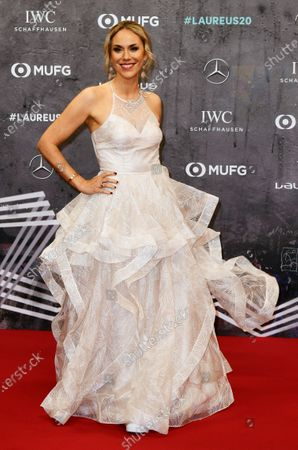 Austrian Tv journalist Kathi Worndl arrives for the Laureus World Sports Awards ceremony at the Verti Music Hall in Berlin, Germany, 17 February 2020.