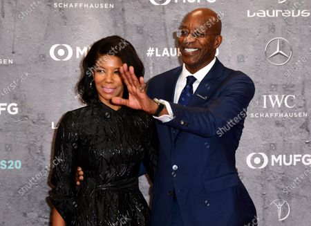 Stock Photo of Former 400m Hurdles World Record holder Edwin Moses of the US and guest arrive for the Laureus World Sports Awards ceremony at the Verti Music Hall in Berlin, Germany, 17 February 2020.
