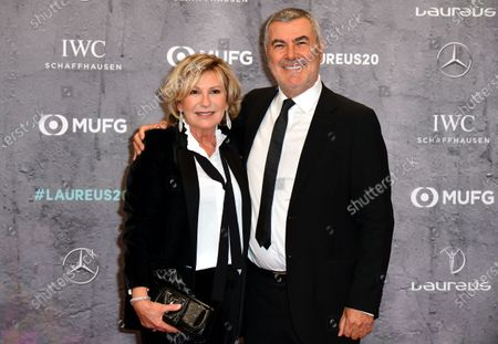 German Tv journalist Sabine Christiansen and husband Norbert Medus arrive for the Laureus World Sports Awards ceremony at the Verti Music Hall in Berlin, Germany, 17 February 2020.