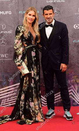 Former Portuguese international Luis Figo and wife Helene Svedin arrive for the Laureus World Sports Awards ceremony at the Verti Music Hall in Berlin, Germany, 17 February 2020.