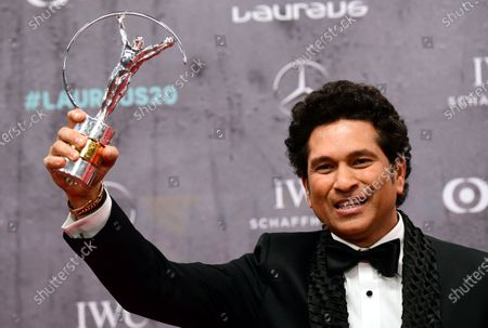 Former Indian cricket player Sachin Tendulkar wins the Laureus Sporting Moment 2000-2020 Award at the Laureus World Sports Awards ceremony at the Verti Music Hall in Berlin, Germany, 17 February 2020.