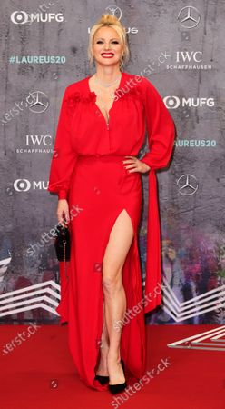 German model Franziska Knuppe arrives for the Laureus World Sports Awards ceremony at the Verti Music Hall in Berlin, Germany, 17 February 2020.