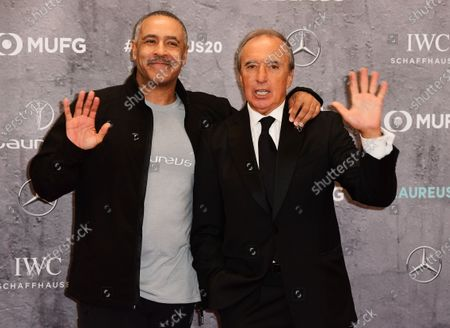 Stock Picture of Laureus Academy Members Daley Thompson (L) and Hugo Porta arrive for the Laureus World Sports Awards ceremony at the Verti Music Hall in Berlin, Germany, 17 February 2020.