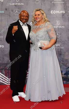Former US middleweight boxer Marvin Hagler and wife Kay Guarrera arrive for the Laureus World Sports Awards ceremony at the Verti Music Hall in Berlin, Germany, 17 February 2020.