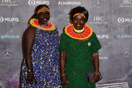 Laureus Academy Member Tegla Loroupe (R) and guest arrive for the Laureus World Sports Awards ceremony at the Verti Music Hall in Berlin, Germany, 17 February 2020.