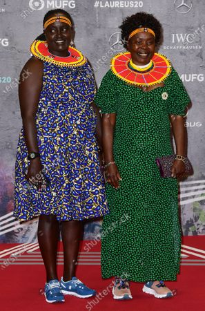 Stock Image of Laureus Academy Member Tegla Loroupe (R) and guest arrive for the Laureus World Sports Awards ceremony at the Verti Music Hall in Berlin, Germany, 17 February 2020.