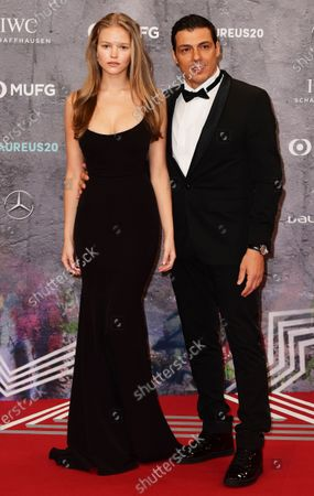 Stock Picture of Laureus ambassador Taig Khris (R) and guest arrive for the Laureus World Sports Awards ceremony at the Verti Music Hall in Berlin, Germany, 17 February 2020.