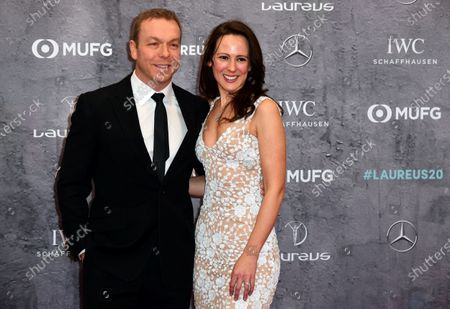 Stock Image of Former British track cyclist Chris Hoy and his wife Sarra Kemp arrive for the Laureus World Sports Awards ceremony at the Verti Music Hall in Berlin, Germany, 17 February 2020.