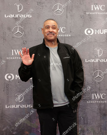 Former athlete Daley Thompson waves as he arrives for the 2020 Laureus World Sports Awards in Berlin, Germany