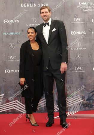 German basketball player Dirk Nowitzki and his wife Jessica arrive for the 2020 Laureus World Sports Awards in Berlin, Germany