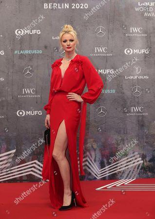 German model Franziska Knuppe arrives for the 2020 Laureus World Sports Awards in Berlin, Germany
