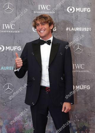 Italian surfer Leonardo Fioravanti arrives for the 2020 Laureus World Sports Awards in Berlin, Germany