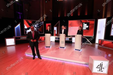 Stock Picture of C4 host Krishnan Guru-Murthy with candidates Rebecca Long-Bailey, Keir Starmer and Lisa Nandy.
