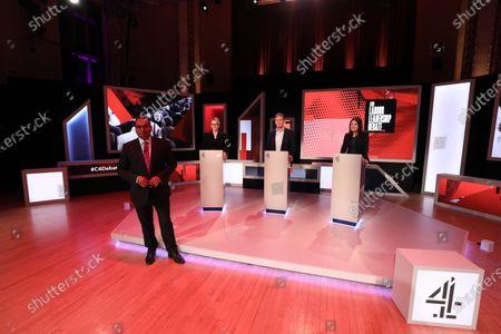 C4 host Krishnan Guru-Murthy with candidates Rebecca Long-Bailey, Keir Starmer and Lisa Nandy.