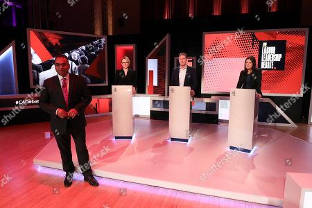 Stock Photo of C4 host Krishnan Guru-Murthy with candidates Rebecca Long-Bailey, Keir Starmer and Lisa Nandy.