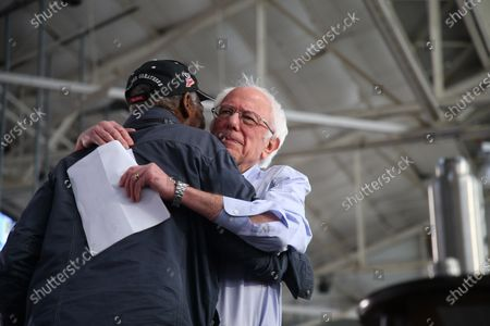 Stock Photo of Danny Glover and Bernie Sanders