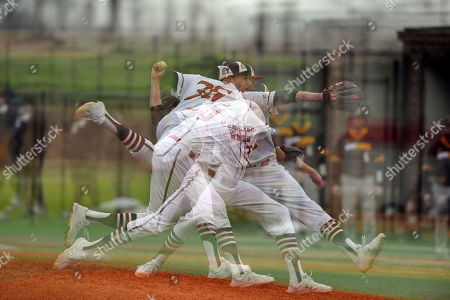 A multiple exposure image of Gardner-Webb pitcher Noah Davis throwing a pitch during an NCAA baseball game, in Boiling Springs, N.C