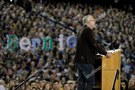 Stock Picture of Actor Tim Robbins speaks at a campaign event for Democratic presidential candidate Sen. Bernie Sanders, I-Vt., in Tacoma, Wash