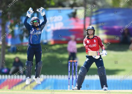Stock Photo of Anushka Sanjeewani of Sri Lanka (L) reacts after the dismissal of Danielle Wyatt of England (R) during the WT20 World Cup warm up match between England Women and Sri Lanka Women at Karen Rolton Oval in Adelaide, Australia, 18 February 2020.