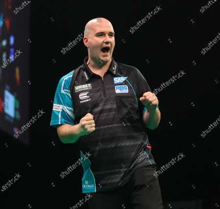 20th February 2020; Motorpoint Stadium, Cardiff, Glamorgan, Wales; Professional Darts Corporation, Unibet Premier League Cardiff; Rob Cross punches the air after checking out