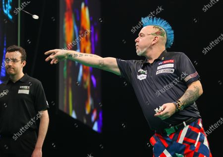 20th February 2020; Motorpoint Stadium, Cardiff, Glamorgan, Wales; Professional Darts Corporation, Unibet Premier League Cardiff; Peter Wright in action against Rob Cross