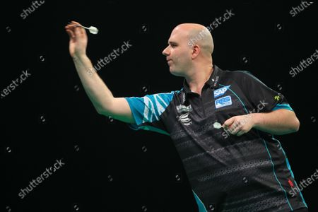 20th February 2020; Motorpoint Stadium, Cardiff, Glamorgan, Wales; Professional Darts Corporation, Unibet Premier League Cardiff; Rob Cross in action against Peter Wright