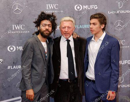 Stock Picture of Boris Becker, Sohn Noah Becker, Sohn Elias Becker
